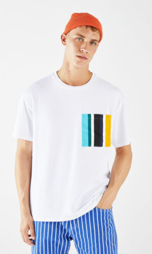 T-Shirt With Colored Pocket